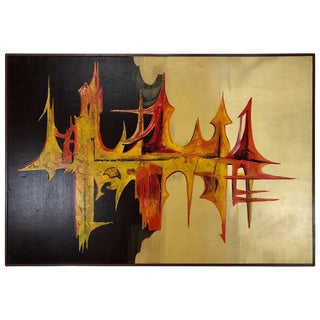 1960s Vintage Carlo of Hollywood 'Sound Wave'' Large Modern Abstract Oil on Canvas Painting For Sale