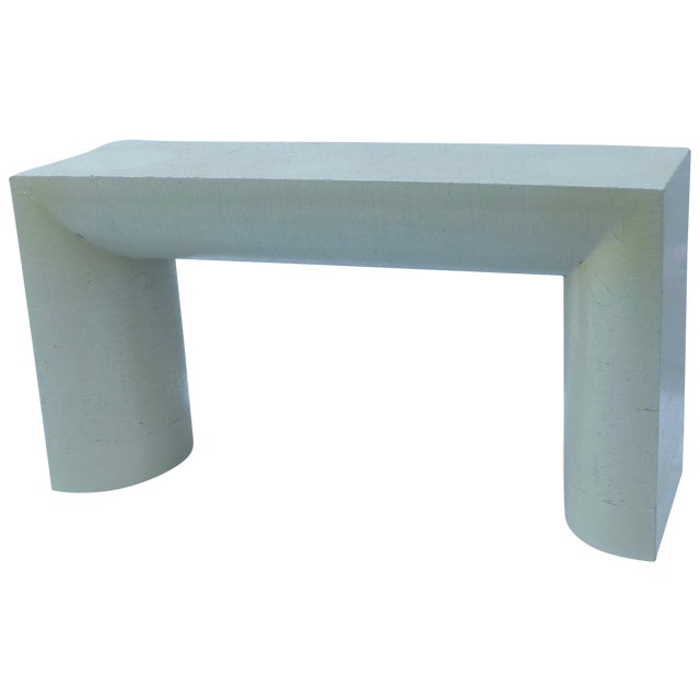 Karl Springer Style Grasscloth Console Table - Image 1 of 9