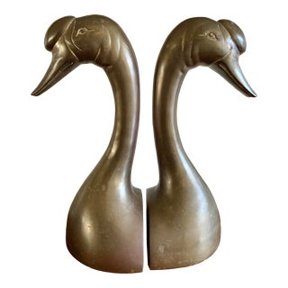 Midcentury Set of Two Tall Brass Swan Bookends For Sale
