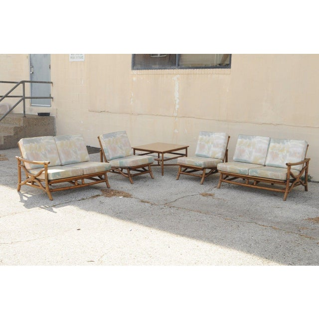 Mid-Century Modern Vintage Mid Century Ficks Reed 5 Pc. Rattan Tiki Set Bamboo Sofa Table Pair Chairs For Sale - Image 3 of 11