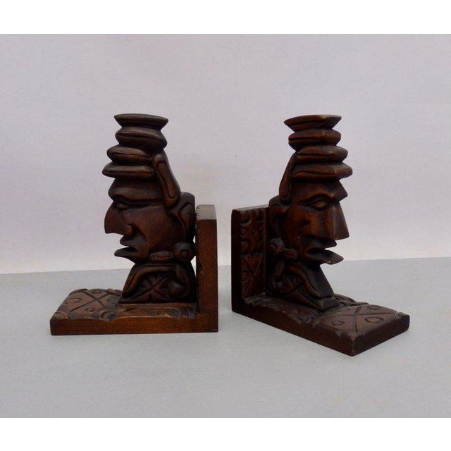 Carved Tiki Bookends - a Pair For Sale - Image 4 of 7