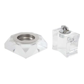 1970s Lucite Ashtray and Lighter Set - A Pair For Sale
