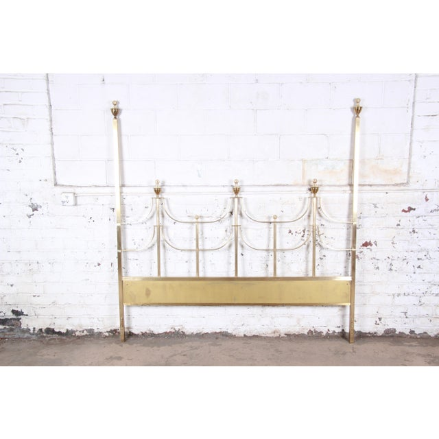 Mid-Century Modern Mastercraft Mid-Century Hollywood Regency Solid Brass King Size Headboard, Circa 1970s For Sale - Image 3 of 11