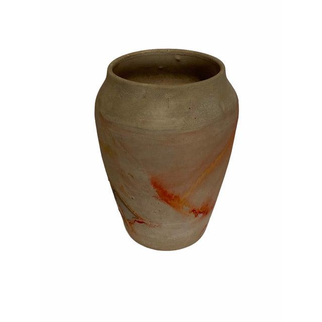 Ceramic Vintage Nemad Indian Orange Brown Pottery Vase For Sale - Image 7 of 10
