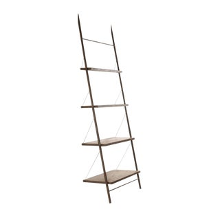 Gun Metal & Wood Ladder Shelf For Sale
