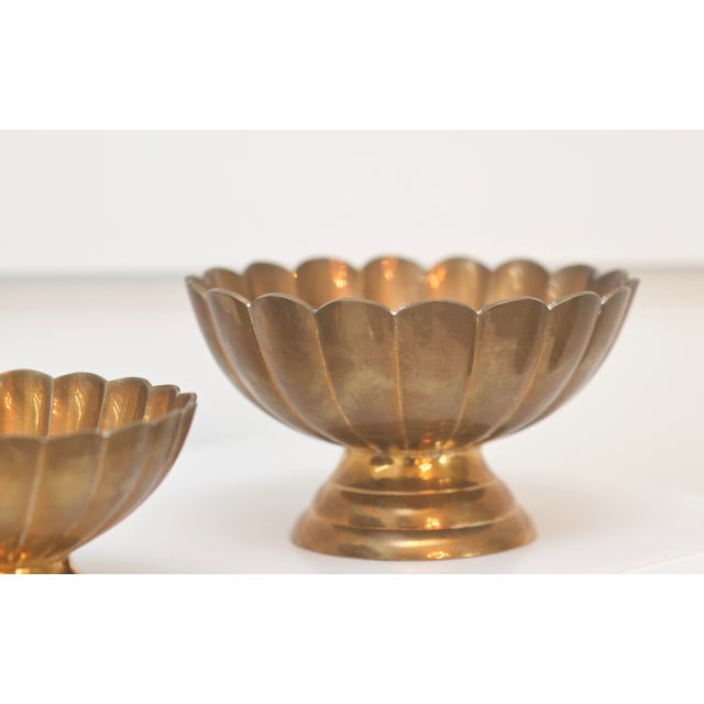 Hollywood Regency Brass Scallop Footed Bowls - Set of 4 - Image 3 of 4