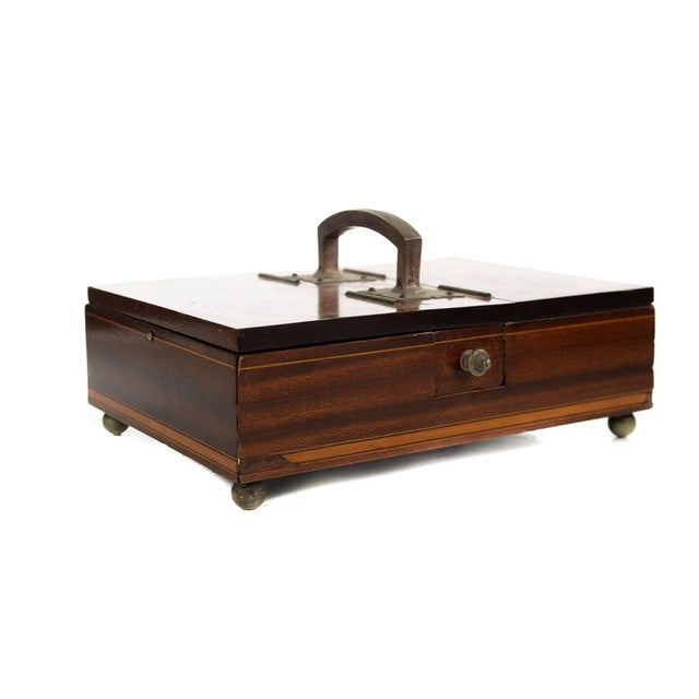 "19th century Unusual English Gentleman Box w/Double doors -Inlaid Walnut-Rare Size 9"" x 12"" A beautiful piece that will..."