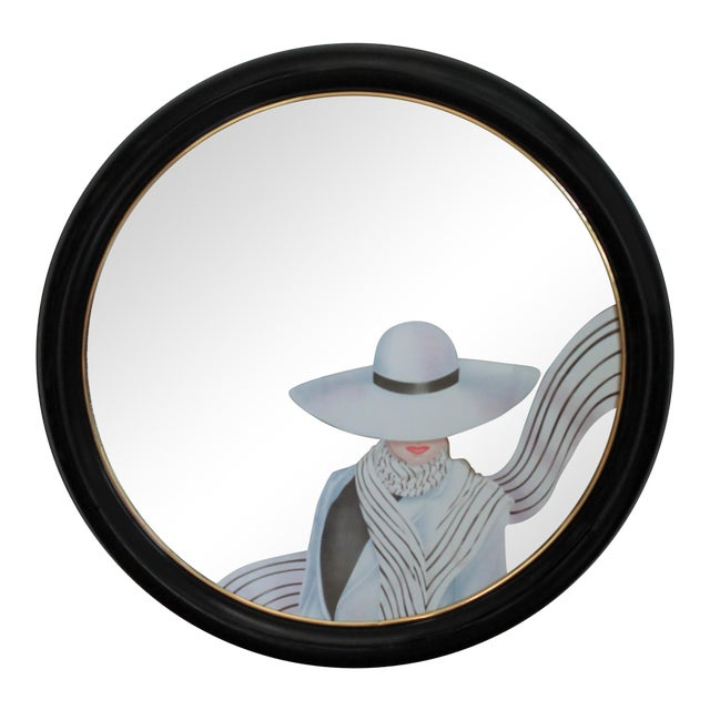 Art Deco Style Round Wall Mirror For Sale