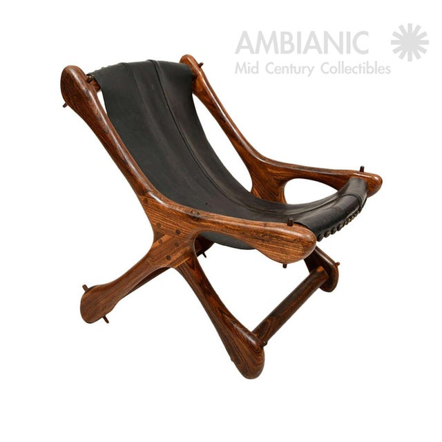 Mid-Century Modern Mid Century Modern Don Shoemaker Sling Chair, Cocobolo & Leather For Sale - Image 3 of 6
