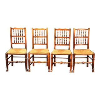 Set of Four English Spindle-Back Chairs With Rush Seats For Sale