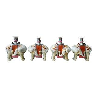 Mottahedeh Porcelain Elephant Candleholders - Set of 4 For Sale