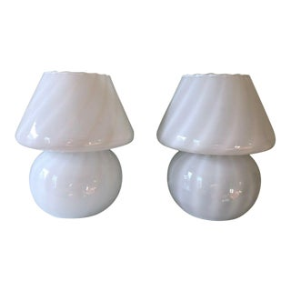 Murano Italian Mid Century Modernist Mushroom Glass Bedside Lamps 1970s - a Pair For Sale