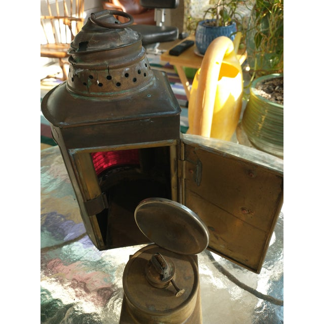 Mid 20th Century Copper Nautical Lanterns - a Pair For Sale - Image 4 of 13