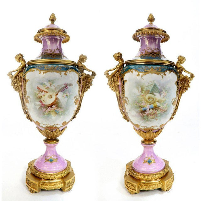 French Figural Bronze Sevres Vases A Pair Chairish