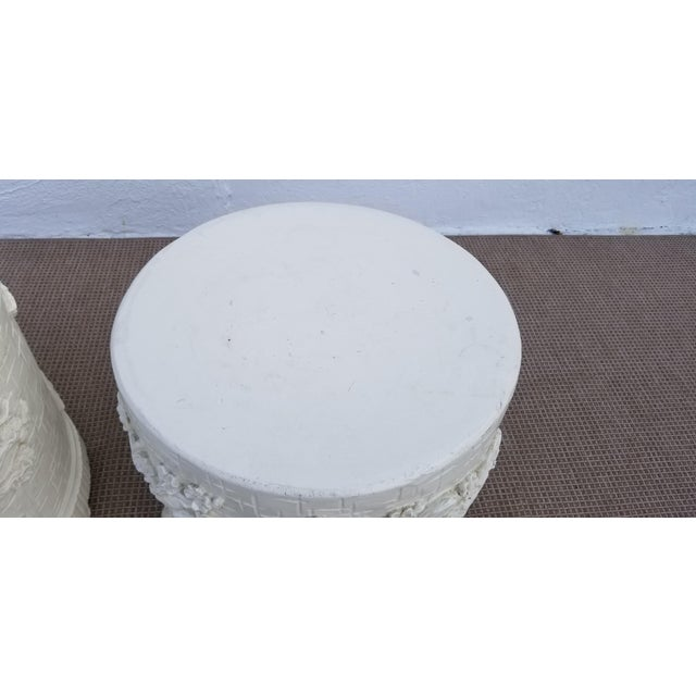 Concrete 1970s Hollywood Regency Cherry Blossom Design Cement Side Tables - a Pair For Sale - Image 7 of 10
