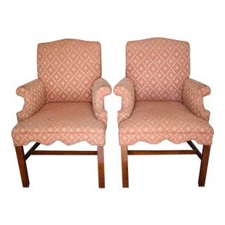 Pair of Hollywood Regency / Palm Beach Style Upholstered Armchairs For Sale