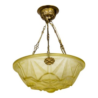 Art Deco Leaf Bowl Pendant in Pressed Yellow Degue Glass For Sale