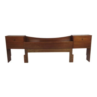 Queen Mid-Century Modern Walnut Headboard For Sale
