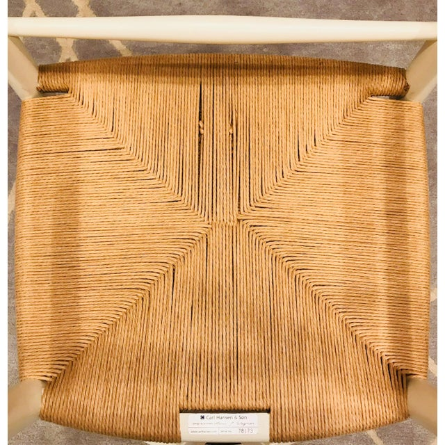 Hans Wegner White Wishbone Chairs - Set of 6 For Sale - Image 9 of 11