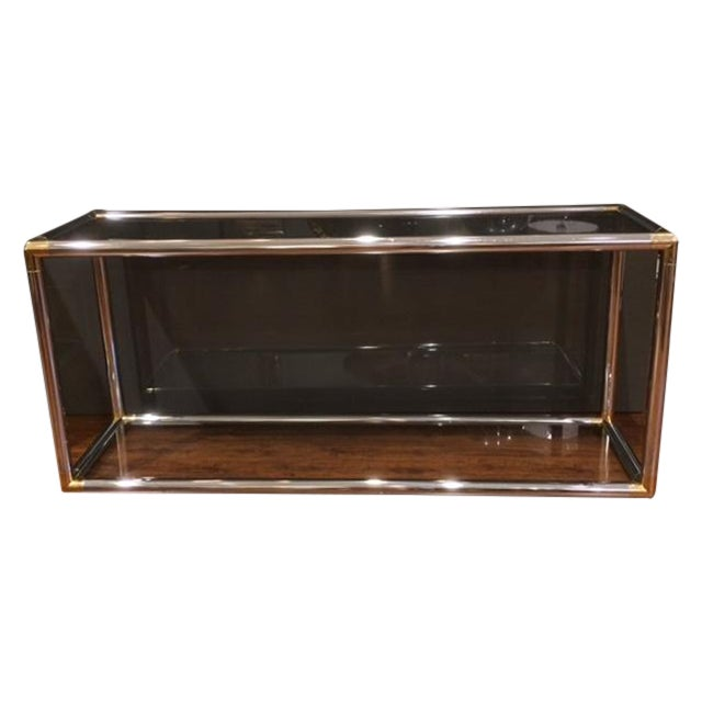 Vintage Chrome and Brass Tubular Console Table For Sale