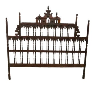 Mid Century Modern King Size Headboard Chinoiserie Pagoda Spanish Revival Spindle Carved For Sale