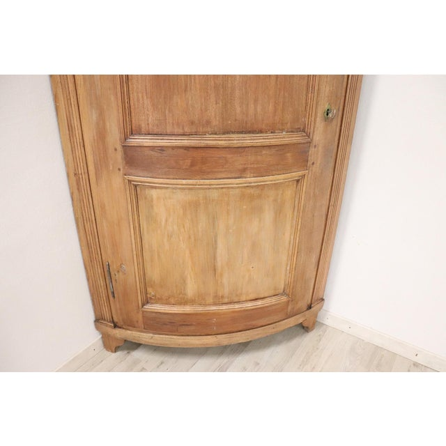 Late 19th Century 19th Century Italian Solid Chestnut Large Corner Cupboard or Corner Cabinet For Sale - Image 5 of 11