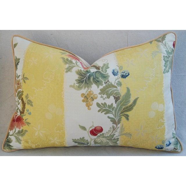 "26"" X 18"" Designer Scalamandre Silk Lampas Feather/Down Pillows - Pair - Image 10 of 10"