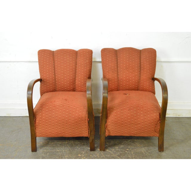 Art Deco Style Pair of Open Arm Lounge Chairs - Image 2 of 10