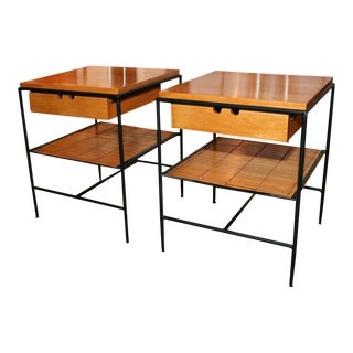 Paul McCobb for Winchendon Wrought Iron Frame Nightstands - a Pair For Sale