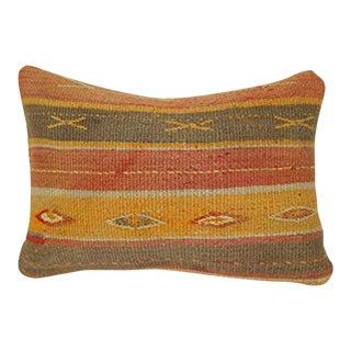 Handmade Anatolian Pattern Kilim Lumbar Pillow, Unique Boho Gift, Vintage Turkish Oushak Rug Kilim Pillow 14'' X 20'' (35 X 50 Cm) For Sale
