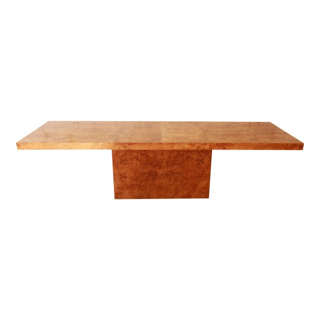 Milo Baughman Burled Olive Wood Pedestal Dining Table - Image 1 of 11