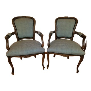 Pair of Chairs - Antique French Louis XV - Ralph Lauren Suit Fabric For Sale