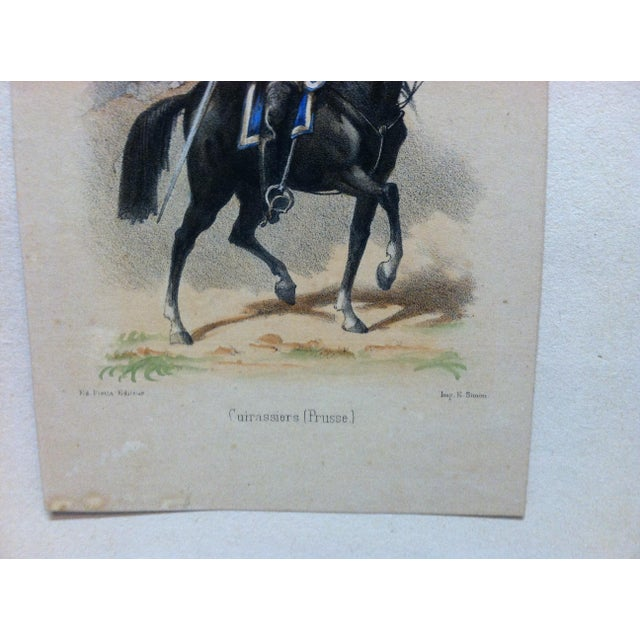 "Folk Art Mid 19th Century Antique E. Simon ""Cuirassiers (Prusse) Hand-Colored Print For Sale - Image 3 of 5"
