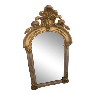 Belle Époque Parcel-Gilt and Lemon Silver Arched Wall Mirror For Sale