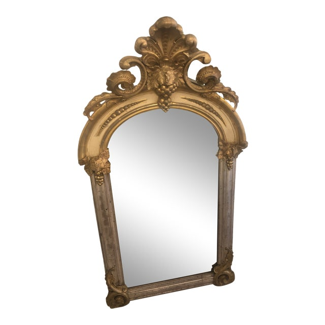 Belle Époque Parcel-Gilt and Lemon Silver Arched Wall Mirror For Sale