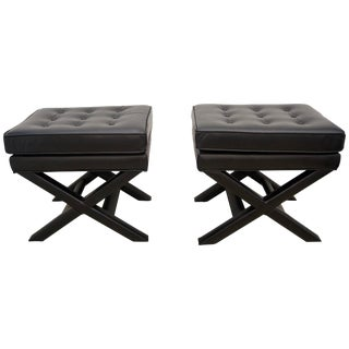 Modern Black Leather X Stools / Ottomans - a Pair For Sale