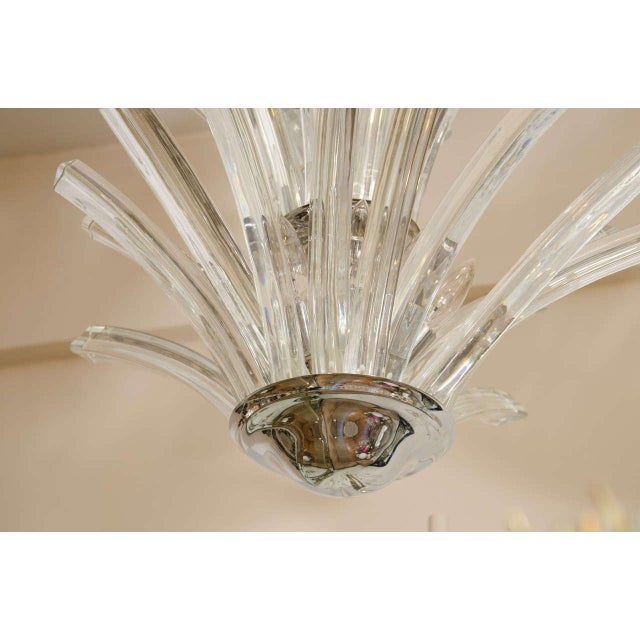 Italian 20th Century Two-Tier Murano Curved Glass Chandelier For Sale - Image 3 of 7