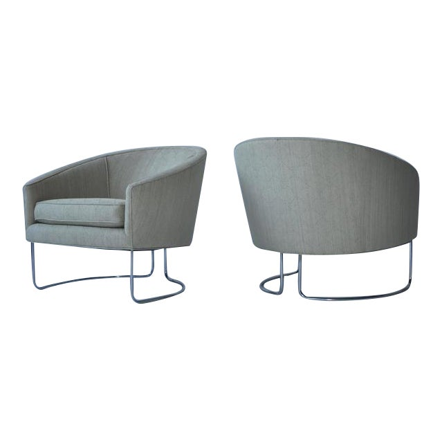 1960s Chrome Base Curved Lounge Chairs For Sale