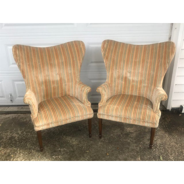 Mid-Century Modern Rainbow Velveteen Wingback Chairs - a Pair For Sale - Image 13 of 13
