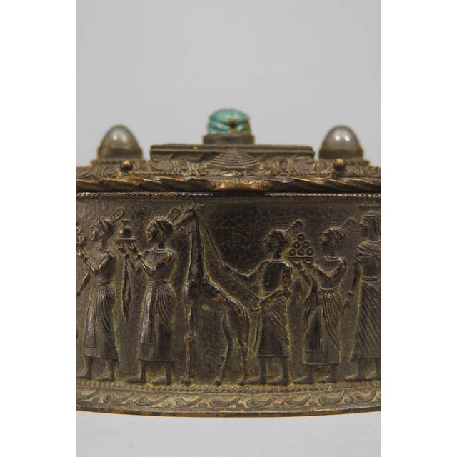 Egyptian Revival Egyptian Revival Inlaid Bronze Oval Box, Circa Late 19th Century For Sale - Image 3 of 4
