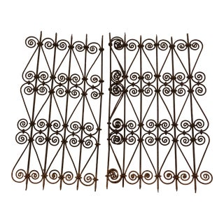 French Iron Scroll Window Grates - a Pair For Sale