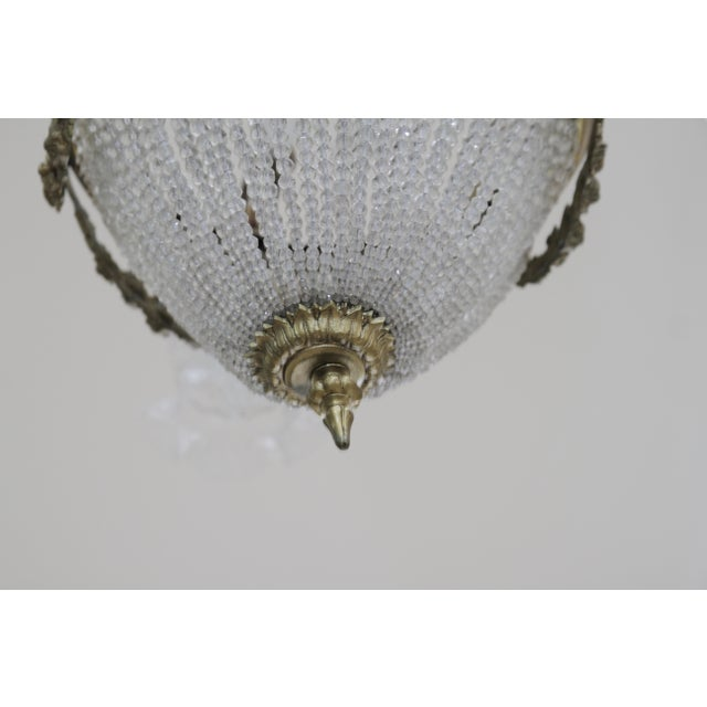 French 19th Century Empire Style Half Circular Crystal & Bronze Chandelier For Sale - Image 9 of 11