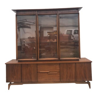 Mid Century Modern Walnut China Cabinet With Adjustable Glass Shelves For Sale