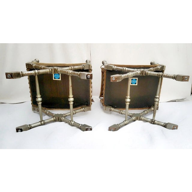 1950's Vintage Drexel Burnished Brass & Faux Bamboo and Suede Safari Style Chairs- a Pair For Sale In Phoenix - Image 6 of 9