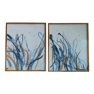 Beth Downey Organic Grass Paintings - a Pair For Sale