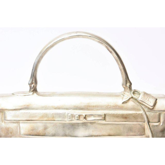 Silvered Bronze Limited Edition French Christian Maas Birkin Bag Sculpture For Sale - Image 9 of 11