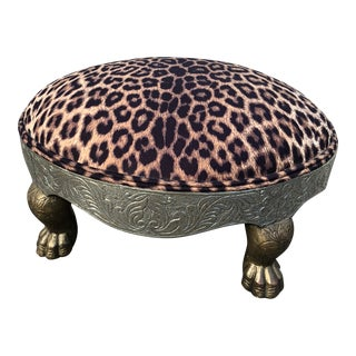 Leopard-Print Brass and Silver Ottoman For Sale