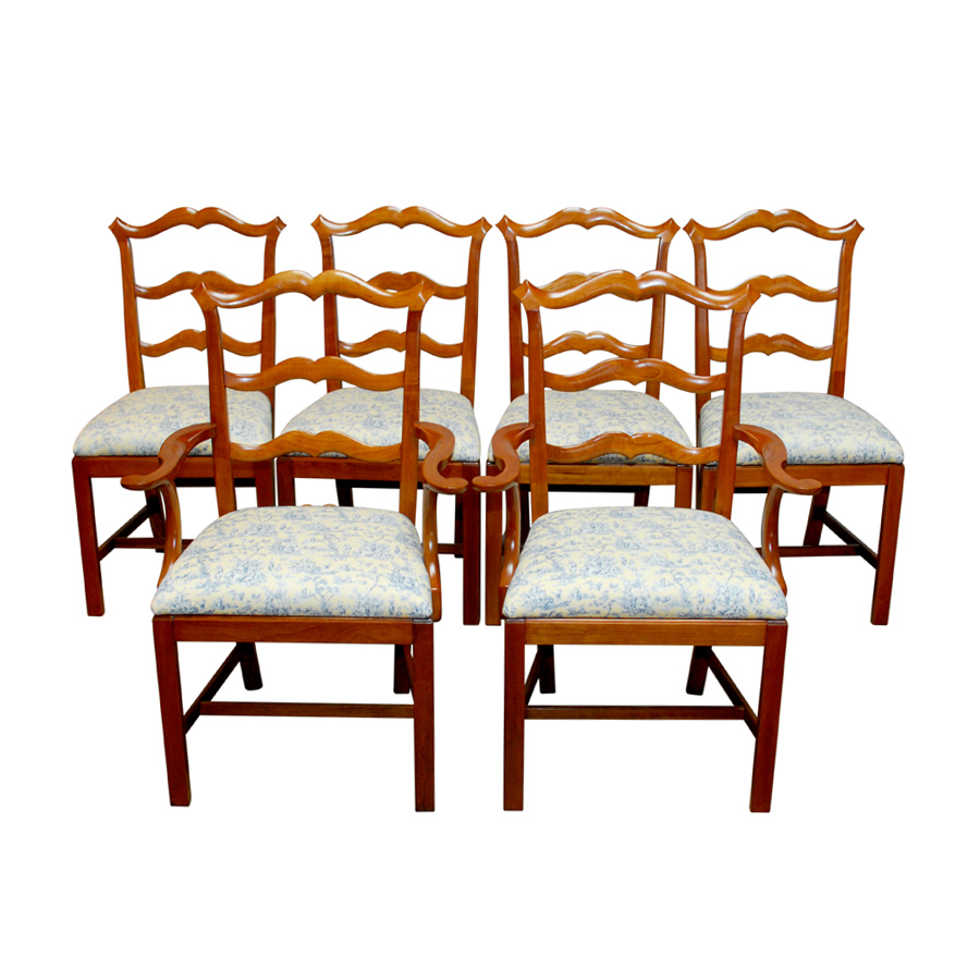 Chippendale Ladder Back Dining Chairs   Set Of 6