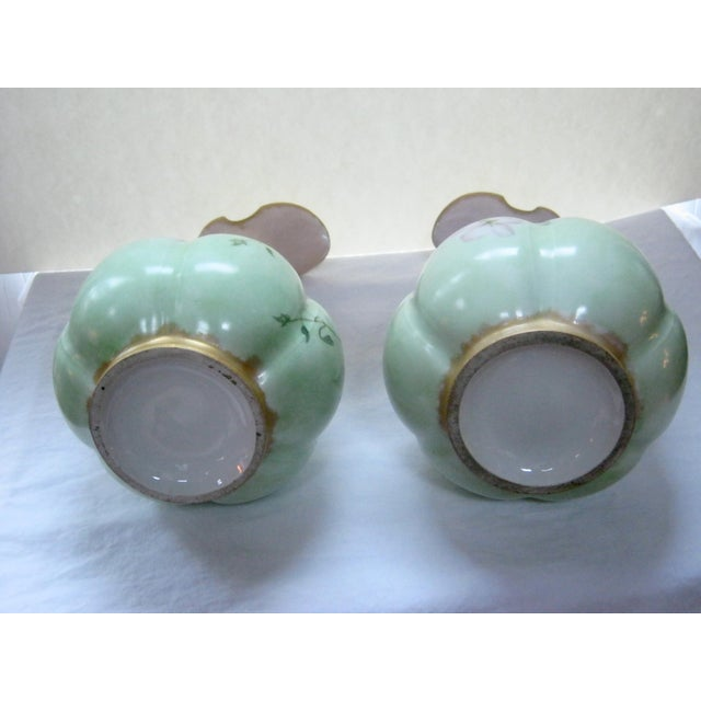 Antique Hand Painted Unsigned Limoges Ewers - A Pair - Image 7 of 8