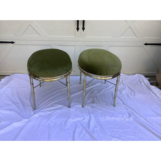 Mastercraft Faux Bamboo Brass Stools, a Pair For Sale In Atlanta - Image 6 of 10